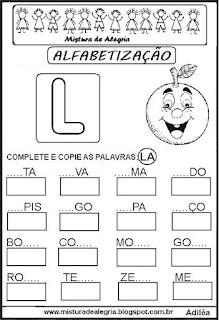 Atividades de alfabetização letra L