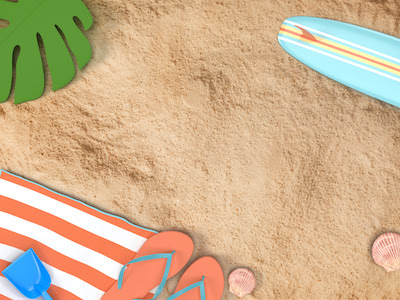 3D Beach with surfing board top view background