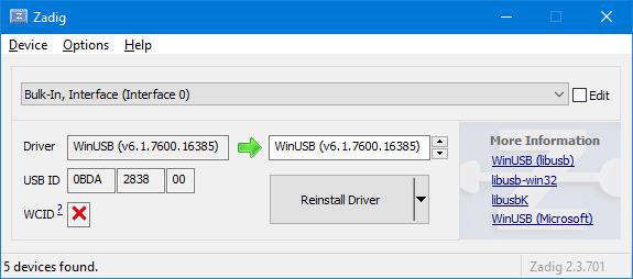Install generic USB driver for RTL2832U