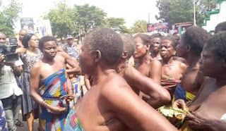 Nude protest: Igbo women socio-cultural group protest without cloth.
