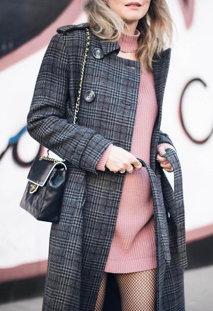 what to wear with a plaid coat : pink sweater dress and black bag