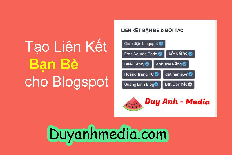 Chia sẻ code tạo liên kết bạn bè cho website blogspot đẹp