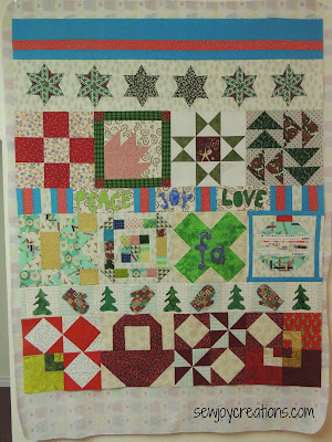 sampler quilt row quilt Christmas orphan blocks made into a quilt
