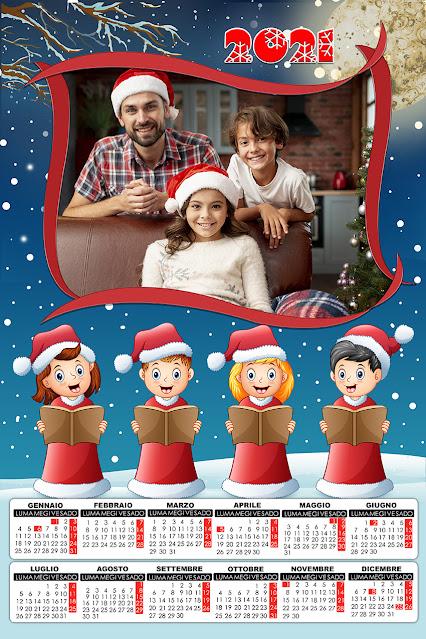 Calendario 2021 a foglio singolo natalizio