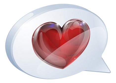 Speech bubble heart icon