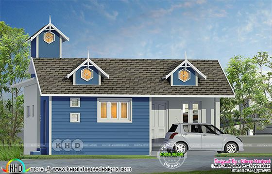 Small Colonial style house architecture rendering