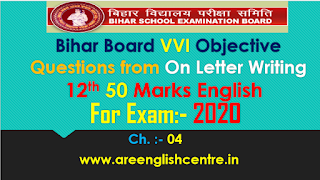 Objective of On Letter Writing for Bihar 12th 50Marks English Prose