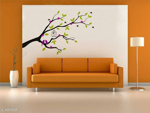 Rawpockets ' Violet Flower Tree with Bird Cage' Wall Decal Sticker' Wall Stickers