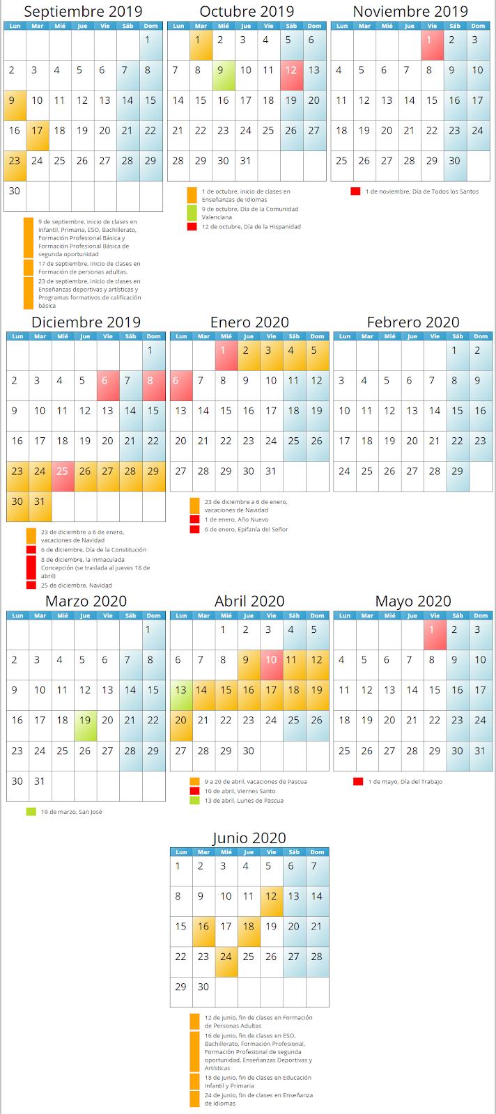 Calendario Escolar Valencia 2020.Ceip Joan Fuster Calendario Escolar 2019 2020