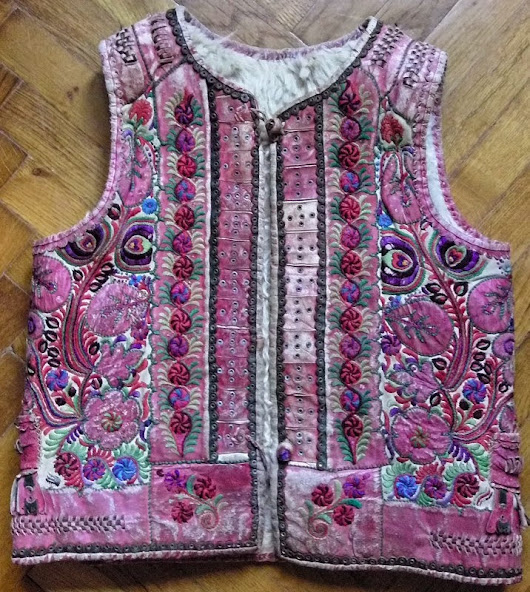 Embroidered sheepskin waistcoat from Transylvania