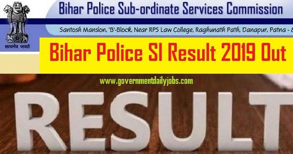 Download Bihar Police SI Result 2019