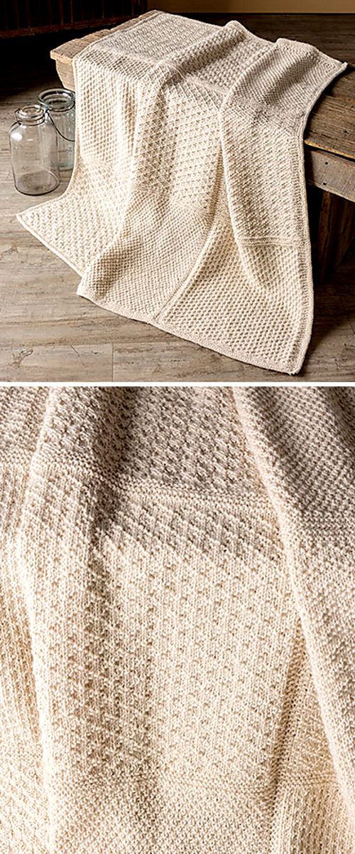 Gansey Block Knit Afghan - Knitting Pattern