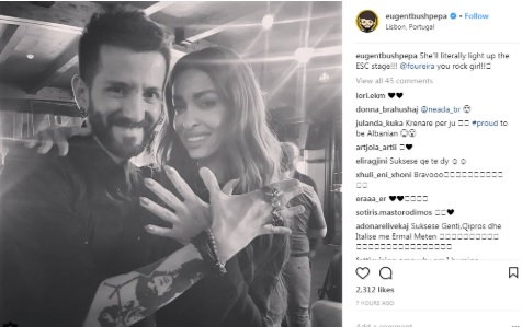 Eugen Bushpepa and Eleni Foureira making the Eagle Symbol