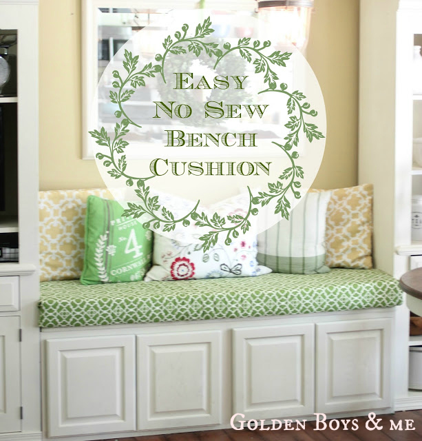 Kitchen Bench Cushions Cabinets Woburn Ma Golden Boys And Me No Sew Cushion Easy Using Safety Pins Curtain Panel Via Www Goldenboysandme