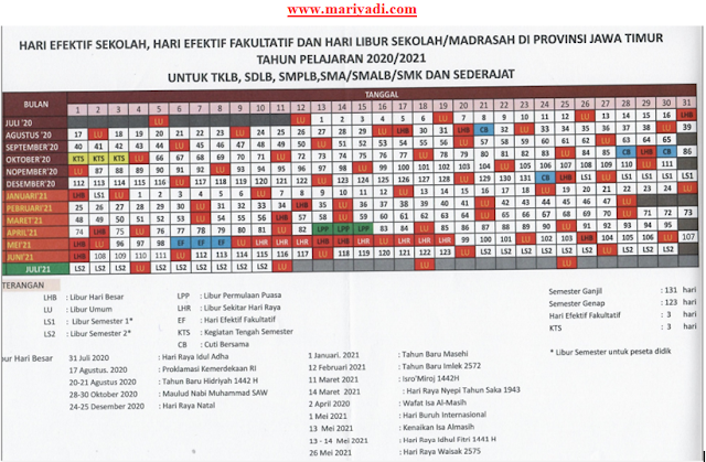 Download Kalender Pendidikan Provinsi Jawa Timur Tahun Pelajaran 2020/2021