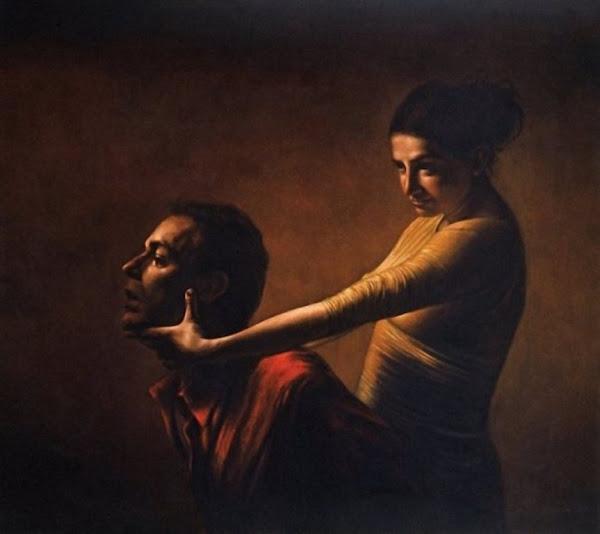 Judith by Antonio De Chiara, Macabre Paintings, Horror Paintings, Freak Art, Freak Paintings, Horror Picture, Terror Pictures