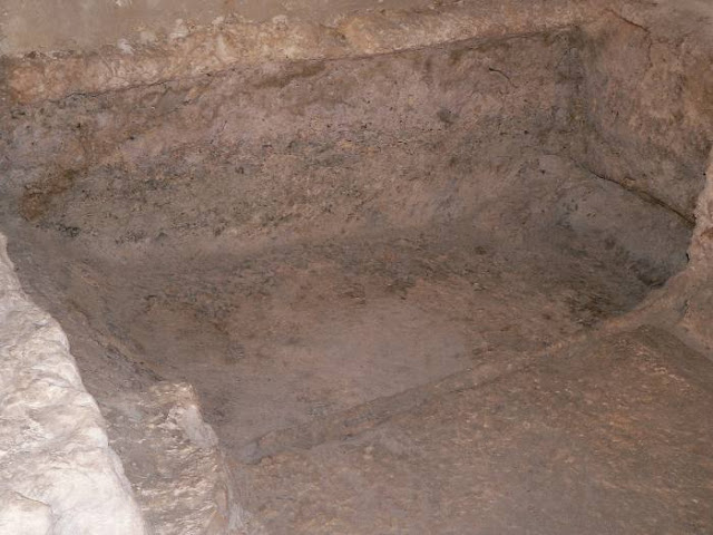The used grave inside the Garden Tomb believed to be the sepulchre where Jesus Christ was laid