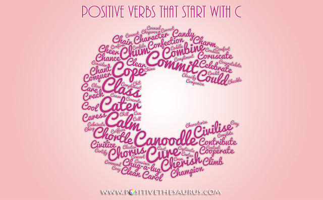 positive verbs that start with c action words word cloud