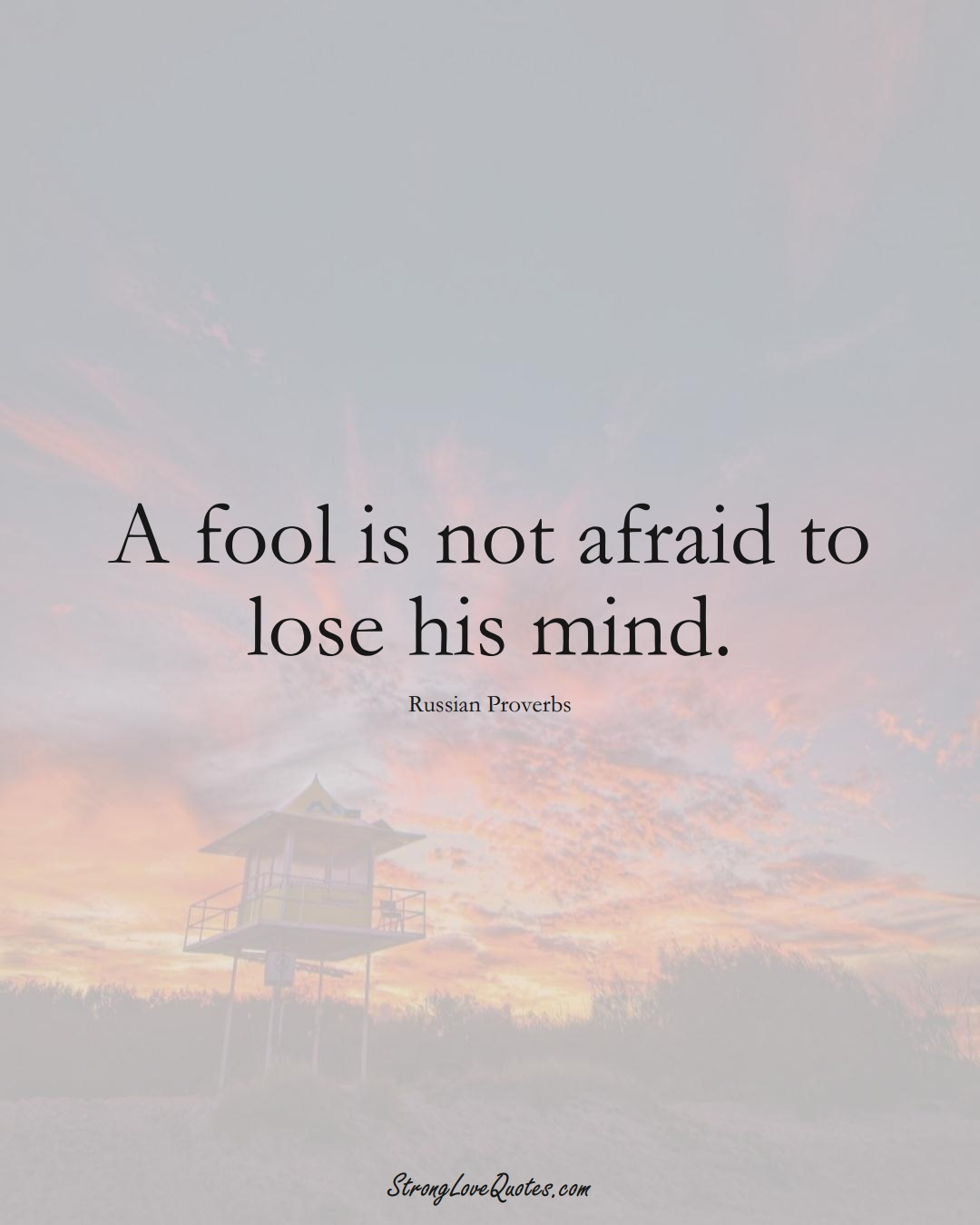 A fool is not afraid to lose his mind. (Russian Sayings);  #AsianSayings