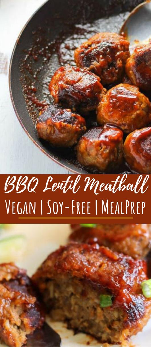 BBQ Lentil Meatballs #vegan #maindish