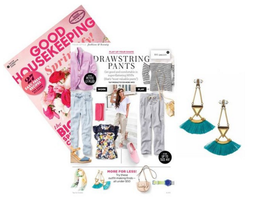 Stella & Dot Lotus Tassel Earrings as seen in Good Housekeeping Magazine (April 2016)