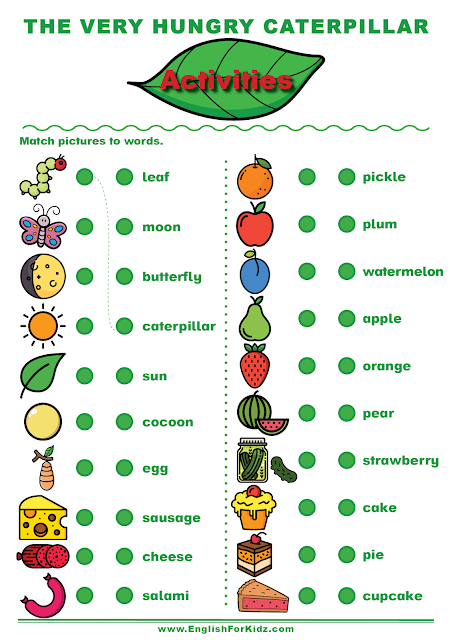The Very Hungry Caterpillar activities to learn English vocabulary