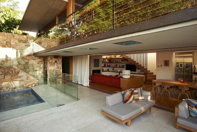 Modern interiors open to the terrace