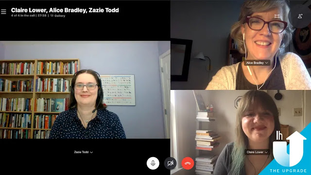 Screenshot of Zazie Todd appearing on The Upgrade podcast with Alice Bradley and Claire Lower