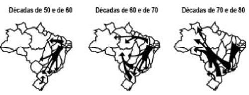 Fonte: Adaptado de SANTOS, Regina Bega. Migrações no Brasil. São Paulo: Scipione, 1994.
