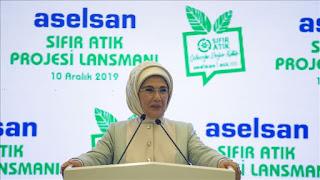 """أمينة أردوغان: تركيا تهدف لتوفير 20 مليون دولار سنويا من خلال مشروع """"صفر نفايات"""""""