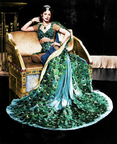 Hedy Lamar in peacock costume from 1950s Samson and Delilah film
