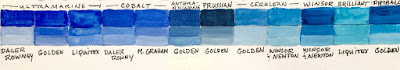 Twelve color swatches of blue.