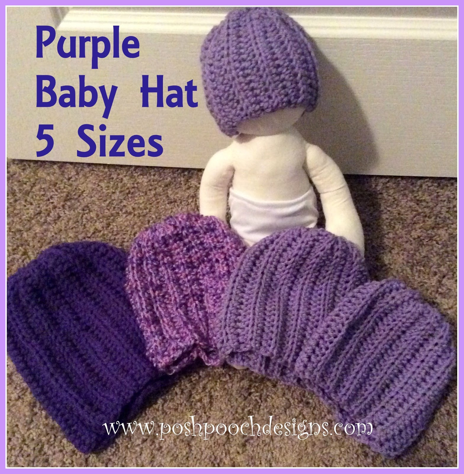 Posh Pooch Designs Dog Clothes: Simple Purple Baby Hat Crochet ...