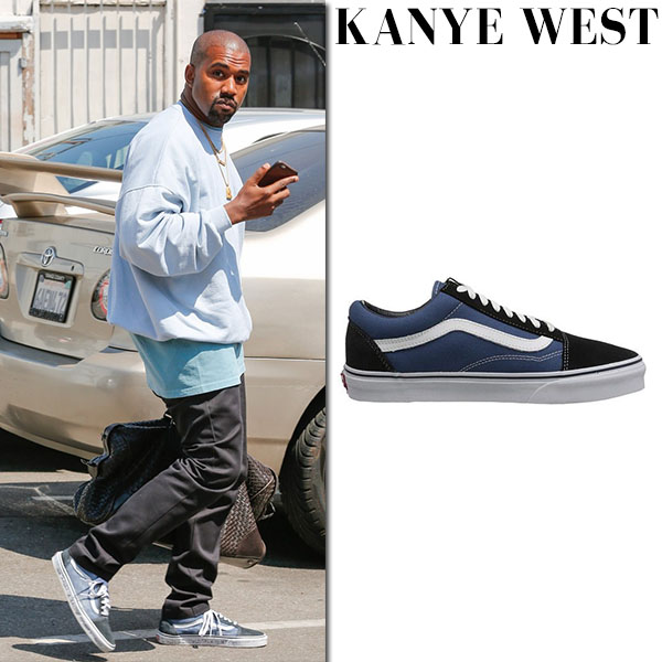 Kanye West in navy canvas sneakers vans old skool mens fashion