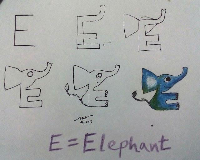Gambar gajah dengan Huruf E