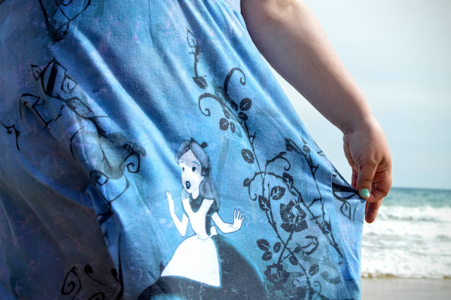Alice in Wonderland dress by the sea
