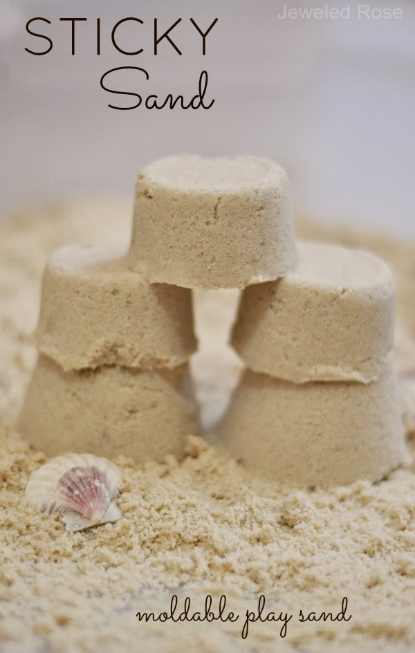 STICKY SAND: Mold it, build it, & CONTAIN IT! This sand acts wet, but it isn't! It sticks together well, but it does not stick to skin. My kids love this stuff, and I love the less-messy alternative to traditional play sand!