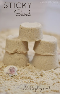Sticky sand is lots of fun for kids to play with.  It acts like wet sand, but it isn't actually wet.  It sticks together well, creating a perfect molding sand for sculpting and creating
