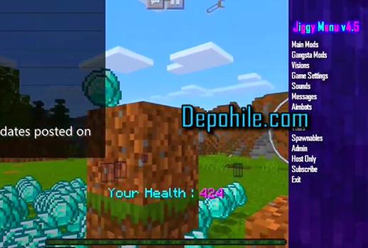 Minecraft PE Jiggy V4.5 Mod Menu Elmas, Jet Pack Multi Hile 2020