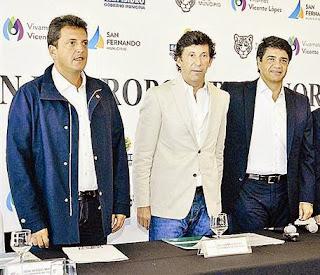 Sergio Massa, Gustavo Posse y Jorge Macri