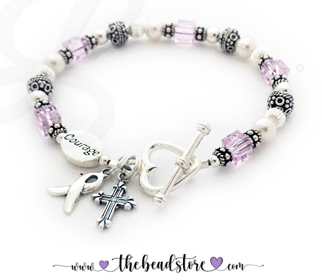 Courage to Fight Cancer Bracelet with a Ribbon Charm and Cross Charm