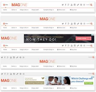 MagOne Magazine Blogger Template Flexible Header Layout