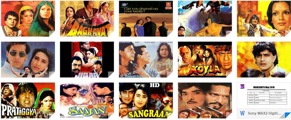 Film Udyog Se: Sony MAX2 Highlights and Listings- 1st - 15th May