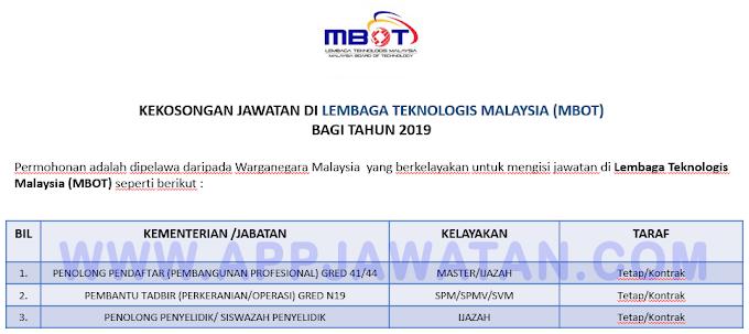 Jawatan Kosong Terkini di Lembaga Teknologis Malaysia (MBOT).