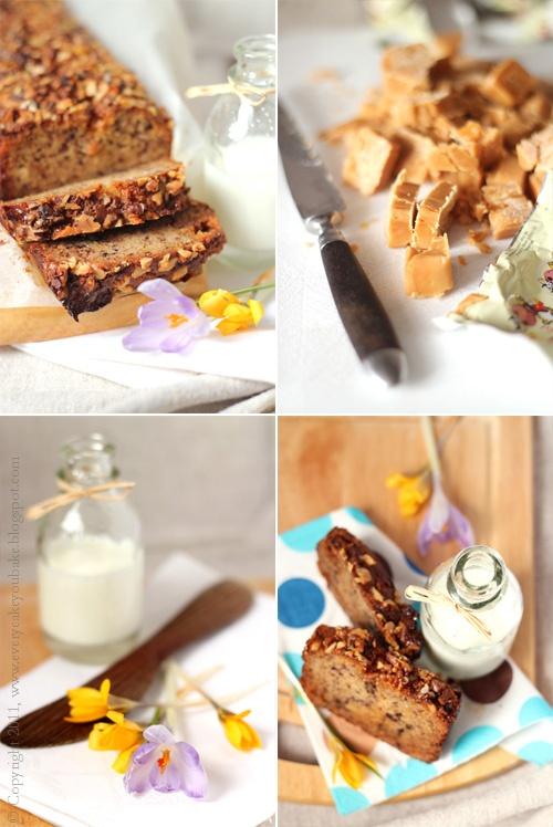 słodki chlebek bananowy z krówkami