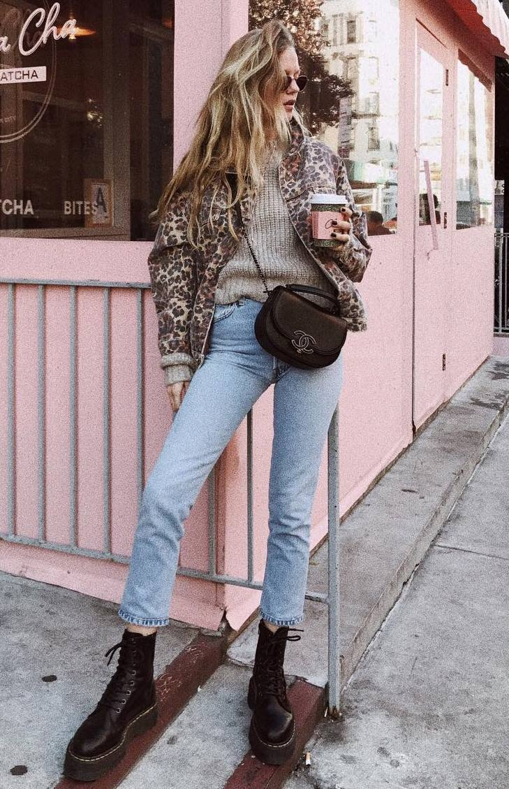 fall outfit idea / leopard bomber jacket + knit sweater + jeans + bag + boots