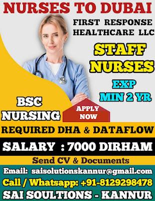 Urgently Required Staff Nurses to Dubai