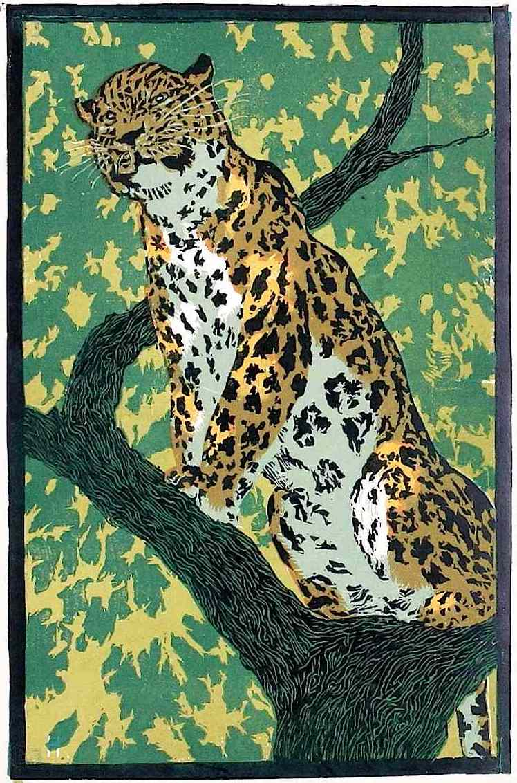 colorful illustration of a leopard in a tree