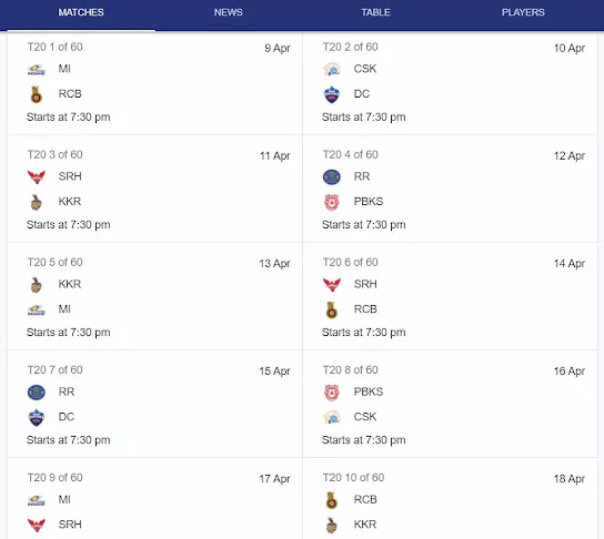 ipl 2021schedule time table photo