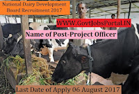National Dairy Development Board Recruitment 2017– Project Officer